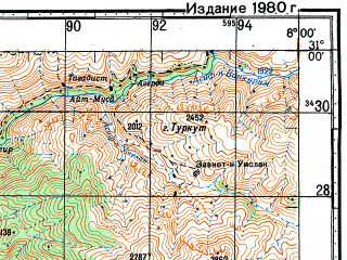 Reduced fragment of topographic map ru--gs--100k--h29-044--N031-00_W008-30--N030-40_W008-00; towns and cities Ijjoukak