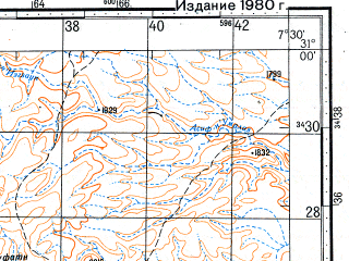 Reduced fragment of topographic map ru--gs--100k--h29-045--N031-00_W008-00--N030-40_W007-30