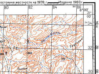 Reduced fragment of topographic map ru--gs--100k--h29-048--N031-00_W006-30--N030-40_W006-00