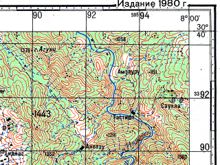 Reduced fragment of topographic map ru--gs--100k--h29-056--N030-40_W008-30--N030-20_W008-00; towns and cities Ait Taleb Aisa