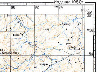 Reduced fragment of topographic map ru--gs--100k--h29-068--N030-20_W008-30--N030-00_W008-00