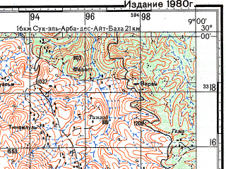 Reduced fragment of topographic map ru--gs--100k--h29-078--N030-00_W009-30--N029-40_W009-00; towns and cities Tanalt