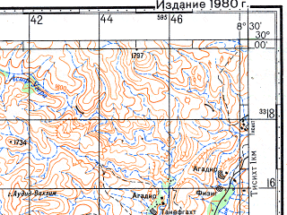Reduced fragment of topographic map ru--gs--100k--h29-079--N030-00_W009-00--N029-40_W008-30; towns and cities Tameguert