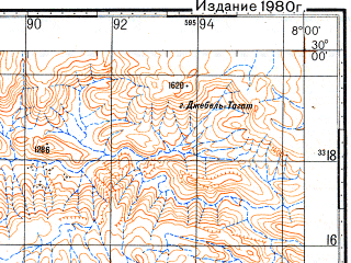 Reduced fragment of topographic map ru--gs--100k--h29-080--N030-00_W008-30--N029-40_W008-00
