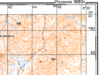 Reduced fragment of topographic map ru--gs--100k--h29-091--N029-40_W009-00--N029-20_W008-30; towns and cities Souk Tleta De Tasserirt, Talat Nyissi, Timkyet