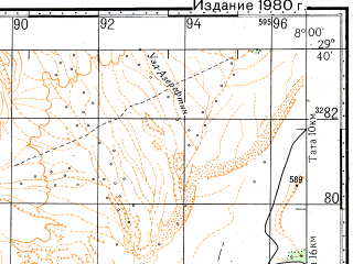 Reduced fragment of topographic map ru--gs--100k--h29-092--N029-40_W008-30--N029-20_W008-00; towns and cities Imitek