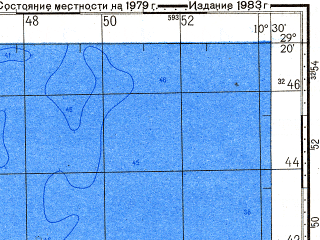 Reduced fragment of topographic map ru--gs--100k--h29-099--N029-20_W011-00--N029-00_W010-30