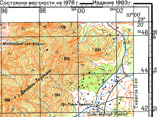 Reduced fragment of topographic map ru--gs--100k--h29-100--N029-20_W010-30--N029-00_W010-00