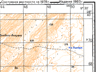 Reduced fragment of topographic map ru--gs--100k--h29-125--N028-40_W010-00--N028-20_W009-30