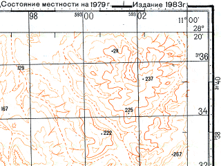 Reduced fragment of topographic map ru--gs--100k--h29-134--N028-20_W011-30--N028-00_W011-00