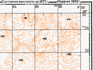 Reduced fragment of topographic map ru--gs--100k--h29-138--N028-20_W009-30--N028-00_W009-00
