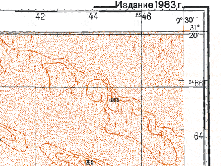Reduced fragment of topographic map ru--gs--100k--h32-031--N031-20_E009-00--N031-00_E009-30