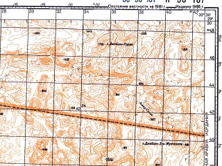 Reduced fragment of topographic map ru--gs--100k--h36-107--N029-20_E035-00--N029-00_E035-30