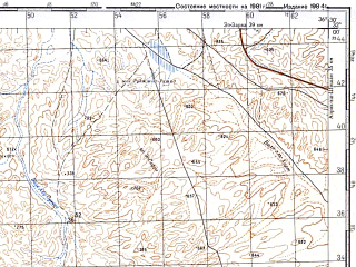 Reduced fragment of topographic map ru--gs--100k--h37-001--N032-00_E036-00--N031-40_E036-30; towns and cities El Muwaqqar