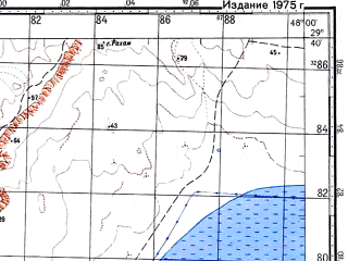 Reduced fragment of topographic map ru--gs--100k--h38-096--N029-40_E047-30--N029-20_E048-00; towns and cities Kuwait