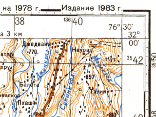 Reduced fragment of topographic map ru--gs--100k--h43-009--N032-00_E076-00--N031-40_E076-30; towns and cities Amb, Dado Siba, Sakrialu