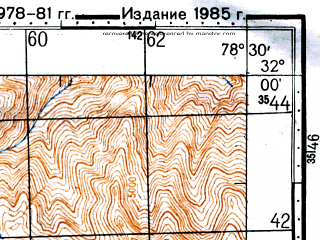 Reduced fragment of topographic map ru--gs--100k--h44-001--N032-00_E078-00--N031-40_E078-30; towns and cities Rangbar Thachang