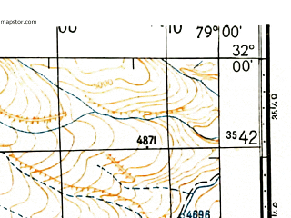 Reduced fragment of topographic map ru--gs--100k--h44-002--N032-00_E078-30--N031-40_E079-00; towns and cities Khab