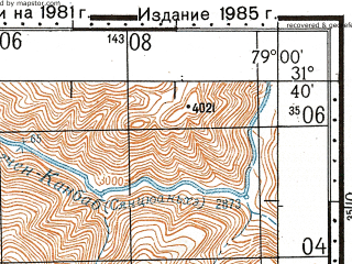 Reduced fragment of topographic map ru--gs--100k--h44-014--N031-40_E078-30--N031-20_E079-00; towns and cities Burati Thatang