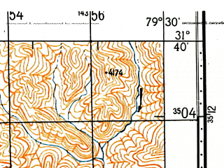 Reduced fragment of topographic map ru--gs--100k--h44-015--N031-40_E079-00--N031-20_E079-30