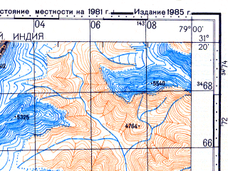 Reduced fragment of topographic map ru--gs--100k--h44-026--N031-20_E078-30--N031-00_E079-00; towns and cities Purali, Dhumku