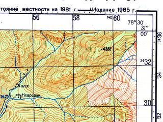 Reduced fragment of topographic map ru--gs--100k--h44-037--N031-00_E078-00--N030-40_E078-30; towns and cities Uttarkashi