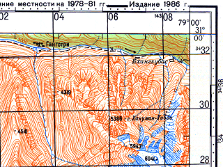 Reduced fragment of topographic map ru--gs--100k--h44-038--N031-00_E078-30--N030-40_E079-00