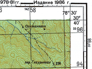 Reduced fragment of topographic map ru--gs--100k--h44-049--N030-40_E078-00--N030-20_E078-30; towns and cities Aindi, Chham