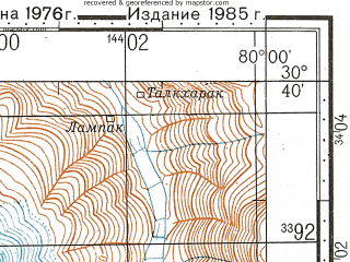 Reduced fragment of topographic map ru--gs--100k--h44-052--N030-40_E079-30--N030-20_E080-00; towns and cities Joshimath