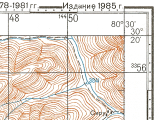 Reduced fragment of topographic map ru--gs--100k--h44-065--N030-20_E080-00--N030-00_E080-30; towns and cities Mathkot