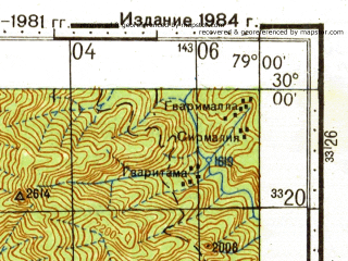 Reduced fragment of topographic map ru--gs--100k--h44-074--N030-00_E078-30--N029-40_E079-00