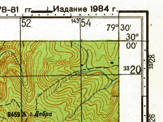 Reduced fragment of topographic map ru--gs--100k--h44-075--N030-00_E079-00--N029-40_E079-30; towns and cities Bandarkutgo, Chaukhutia