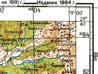 Reduced fragment of topographic map ru--gs--100k--h44-086--N029-40_E078-30--N029-20_E079-00; towns and cities Kalagarh