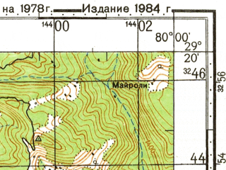 Reduced fragment of topographic map ru--gs--100k--h44-100--N029-20_E079-30--N029-00_E080-00; towns and cities Chorgallia