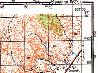 Reduced fragment of topographic map ru--gs--100k--h48-087--N029-40_E103-00--N029-20_E103-30