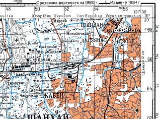 Reduced fragment of topographic map ru--gs--100k--h51-027--N031-20_E121-00--N031-00_E121-30; towns and cities Shanghai