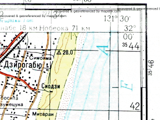 Reduced fragment of topographic map ru--gs--100k--h52-011--N032-00_E131-00--N031-40_E131-30; towns and cities Miyazaki, Miyakonojo, Oryuzako, Haruguchi