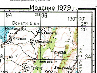 Reduced fragment of topographic map ru--gs--100k--h52-140--N028-20_E129-30--N028-00_E130-00; towns and cities Akatsure