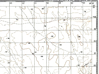 Reduced fragment of topographic map ru--gs--100k--i37-101--N033-20_E038-00--N033-00_E038-30