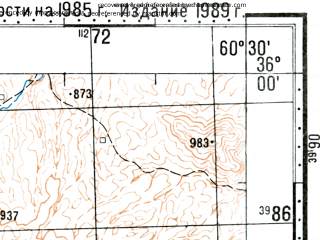 Reduced fragment of topographic map ru--gs--100k--i41-001--(1989)--N036-00_E060-00--N035-40_E060-30