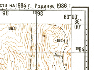 Reduced fragment of topographic map ru--gs--100k--i41-006--N036-00_E062-30--N035-40_E063-00; towns and cities Takhta-bazar