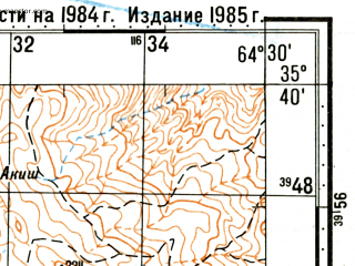 Reduced fragment of topographic map ru--gs--100k--i41-021--(1985)--N035-40_E064-00--N035-20_E064-30