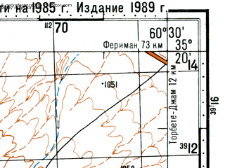 Reduced fragment of topographic map ru--gs--100k--i41-025--(1989)--N035-20_E060-00--N035-00_E060-30; towns and cities Hemmatabad