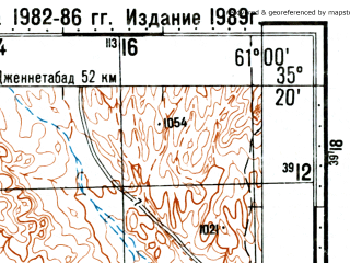 Reduced fragment of topographic map ru--gs--100k--i41-026--(1989)--N035-20_E060-30--N035-00_E061-00