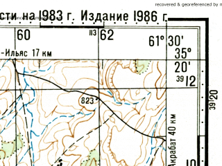 Reduced fragment of topographic map ru--gs--100k--i41-027--(1986)--N035-20_E061-00--N035-00_E061-30