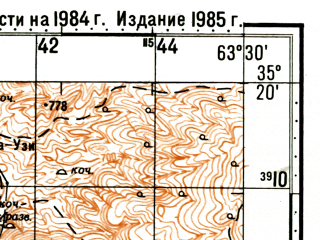 Reduced fragment of topographic map ru--gs--100k--i41-031--(1985)--N035-20_E063-00--N035-00_E063-30; towns and cities Darreh-ye Bum