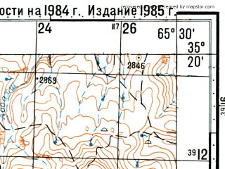 Reduced fragment of topographic map ru--gs--100k--i41-035--(1985)--N035-20_E065-00--N035-00_E065-30