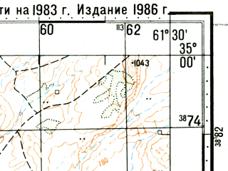 Reduced fragment of topographic map ru--gs--100k--i41-039--(1986)--N035-00_E061-00--N034-40_E061-30