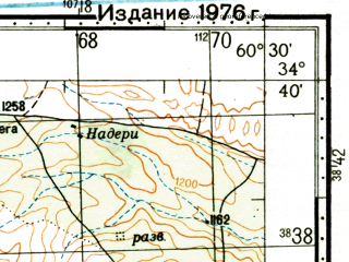 Reduced fragment of topographic map ru--gs--100k--i41-049--(1976)--N034-40_E060-00--N034-20_E060-30; towns and cities Sangan