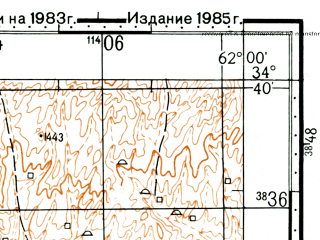Reduced fragment of topographic map ru--gs--100k--i41-052--(1985)--N034-40_E061-30--N034-20_E062-00